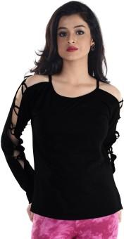 Vea Kupia Casual Full Sleeve Solid Women's Black Top