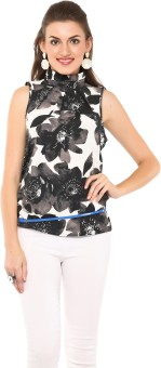 Estellin Casual, Party Sleeveless Floral Print Women's Top