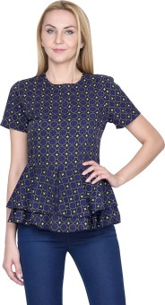 Golden Couture Casual, Festive, Formal, Lounge Wear, Party Short Sleeve Printed Women's Top
