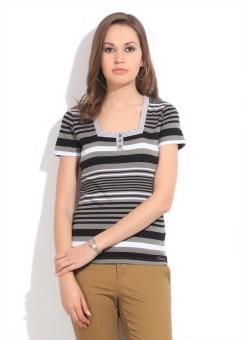 Debenhams-Maine Womens Casual Short Sleeve Striped Women's Top