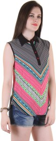 Hotberries Casual Sleeveless Printed Women's Pink, Multicolor Top