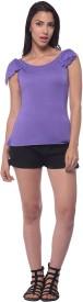 Nineteen Casual Sleeveless Solid Women's Purple Top