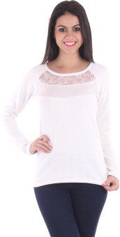 SS Casual Full Sleeve Solid Women's White Top