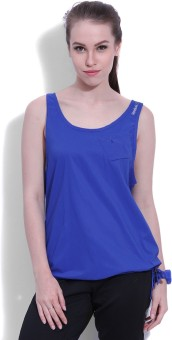 Reebok Sports Sleeveless Solid Women's Blue Top