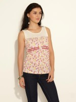 Sepia Casual Sleeveless Printed Women's Top