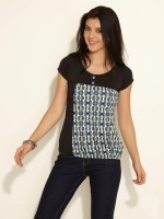 Sepia Casual Short Sleeve Printed Women's Top