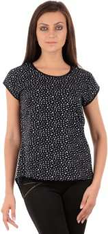 Sanchey Casual, Formal Short Sleeve Geometric Print, Solid, Polka Print, Printed Women's Top