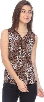 Identiti Casual Sleeveless Animal Print Women's Top
