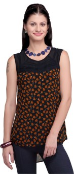 Haute Curry By Shoppers Stop Casual Sleeveless Printed, Woven Women's Top