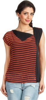 Zovi Casual Short Sleeve Striped Women's Top
