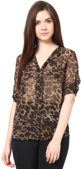 Trend 18 Casual Roll-up Sleeve Animal Print Women's Top