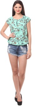 Eyelet Casual, Party Short Sleeve Printed Women's Top