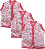 SRIM Casual Sleeveless Printed, Floral Print Baby Girl's Pink, White Top