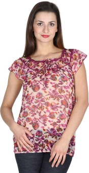 Modimania Casual, Festive, Party Short Sleeve Floral Print Women's Top