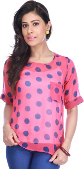 Life By Shoppers Stop Casual Roll-up Sleeve Polka Print, Woven Women's Top