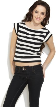 Fashley London Casual Short Sleeve Striped Women Top