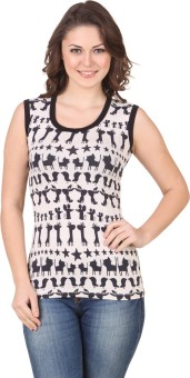 Flur Casual Sleeveless Animal Print Women's Top