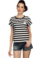 Bedazzale Casual Short Sleeve Striped Women's Top