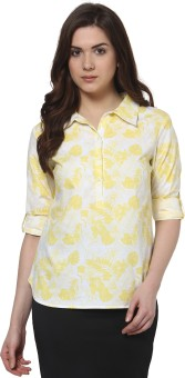 Thegudlook Casual Roll-up Sleeve Floral Print Women's Top
