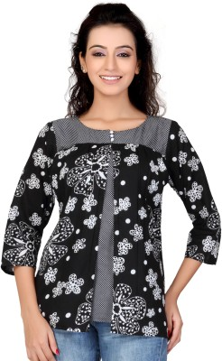 Lifestyle Lifestyle Retail Missy Casual 3\/4 Sleeve Floral Print Women's Top (Black)