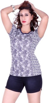 GO4IT Casual Short Sleeve Floral Print Women's Dark Blue Top