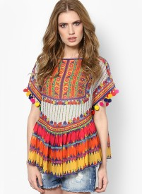 Fabron Party, Casual, Beach Wear, Festive, Lounge Wear Cap sleeve Printed Women's Multicolor Top