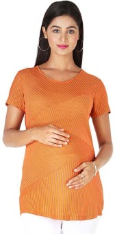 Morph Maternity Casual Short Sleeve Solid Women's Orange Top