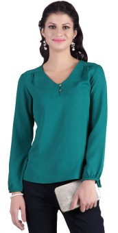 Stop To Start Casual Full Sleeve Solid, Woven Women's Top