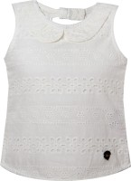 VITAMINS Casual Sleeveless Embellished Baby Girl's White Top