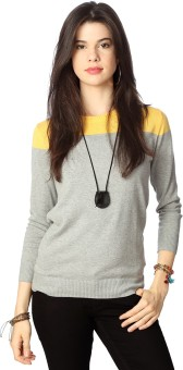 People Casual Full Sleeve Solid Women's Grey Top
