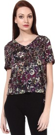 Oxolloxo Casual Short Sleeve Printed Women's Multicolor Top