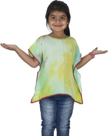 Twin Twine Casual Short Sleeve Printed Girl's Multicolor Top