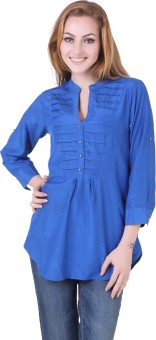 Silk Weavers Casual 3/4 Sleeve Solid Women's Top