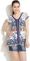 Fusion Beats Casual Short Sleeve Printed Women's Top