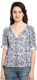 Cottonworld Casual Roll-up Sleeve Floral Print Women's Top