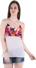 Hotberries Casual Noodle strap Solid Women's White, Multicolor Top