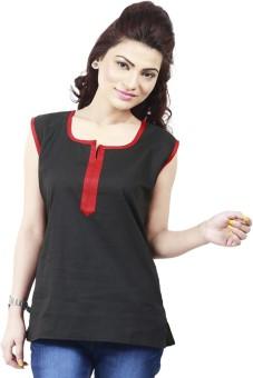 Loot Lo Creation Formal Sleeveless Self Design Women's Black Top