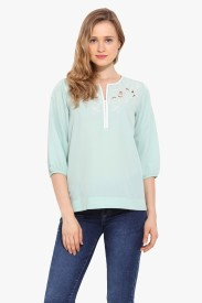 Saiesta Casual 3/4 Sleeve Embroidered Women's Blue Top