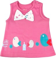 KIDSMODE Casual Sleeveless Printed Baby Girl's Pink, White Top