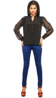 Cottinfab Casual Full Sleeve Printed, Solid Women's Top