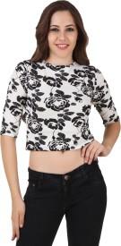 Big Pout Casual, Party, Beach Wear, Festive 3/4 Sleeve Floral Print Women's White Top