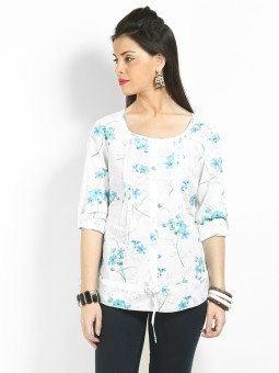 Max Casual Roll-up Sleeve Floral Print Women's Top