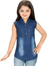 bluntly Casual Sleeveless Solid Girl's Blue Top