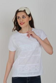 Flirtz Casual Short Sleeve Geometric Print Women's Top