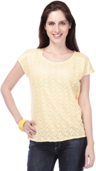 Eliza Donatein By Shoppers Stop Casual Short Sleeve Solid Women's Top