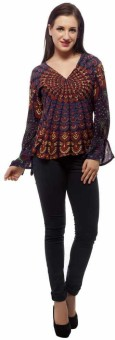 Indi Bargain Party, Formal Full Sleeve Floral Print Women's Top