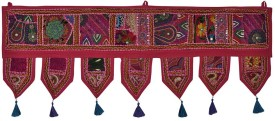 Lal Haveli Handmade Beads and Embroidery Work Cotton Hanging For Door Decoration Toran