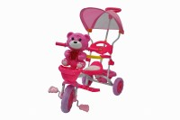 Toyhouse Easy To Steer Teddy Bear Baby With Canopy And Push Handle Steering System Pink Tricycle