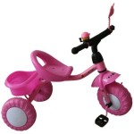 Happy Kids Happy Kids Sturdy Tricycle with Bell, Mirror and Carrier Pink Tricycle