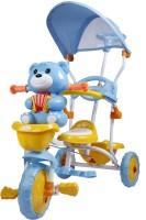 Toyhouse Easy To Steer Teddy Bear Baby Twith Canopy And Push Handle Steering System Blue Tricycle